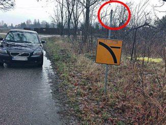 """Droga z Kożuszek Parceli do Feliksowa, komuś przeszkadzał znak """"Droga z pierwszeństwem""""/ fot. Janusz Szostak"""